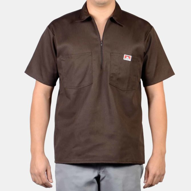 Short Sleeve Solid, 1/2 Zip – Brown