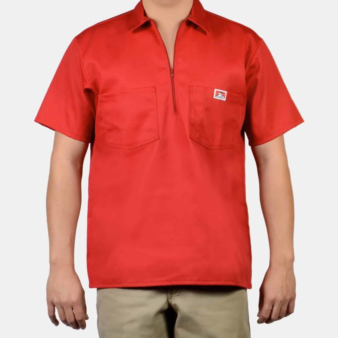 Short Sleeve Solid, 1/2 Zip – Red