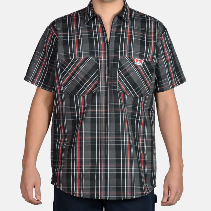 Short Sleeve Plaid, 1/2 Zip – Black/Grey/Red
