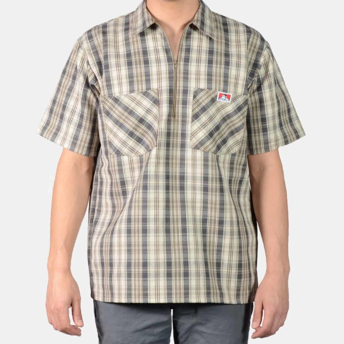 Short Sleeve Plaid Shirt - Khaki/Grey, 135