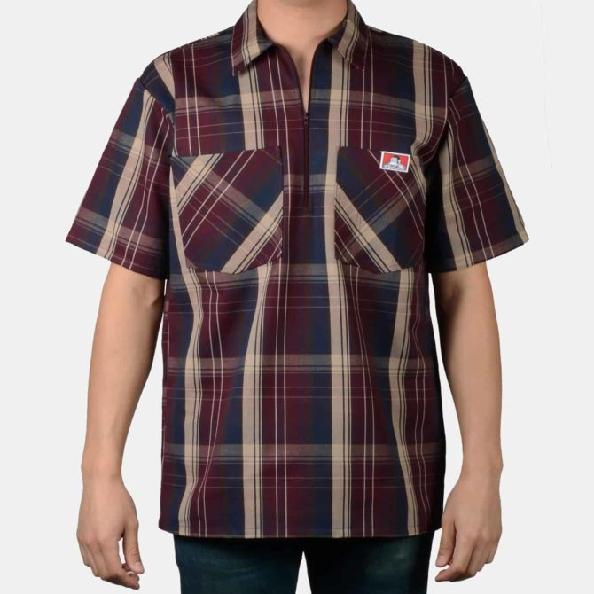 Short Sleeve Plaid, 1/2 Zip – Burgundy