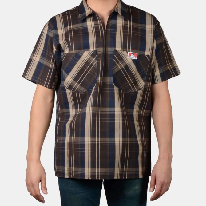 Short Sleeve Plaid, 1/2 Zip – Brown