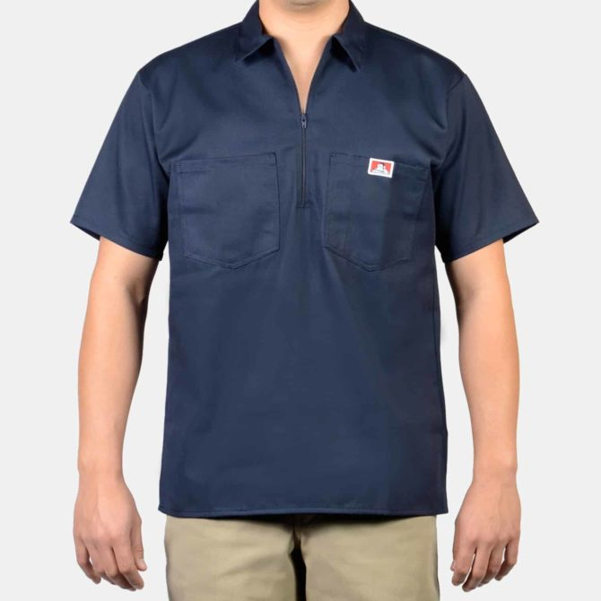 Short Sleeve Solid, 1/2 Zip – Navy