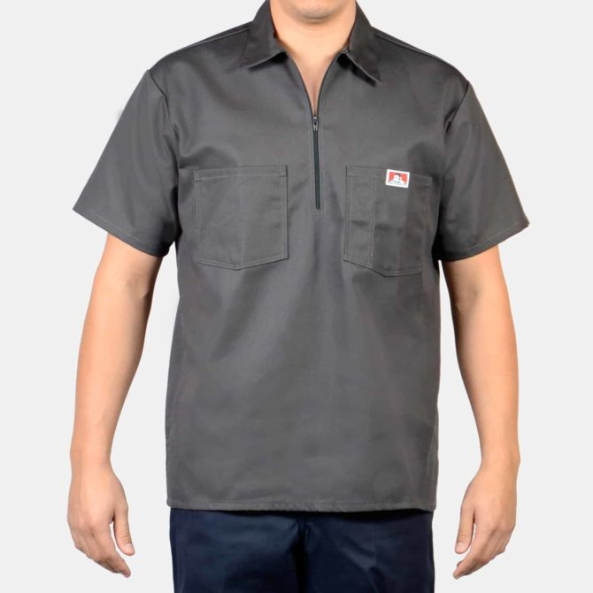 Short Sleeve Solid, 1/2 Zip – Charcoal