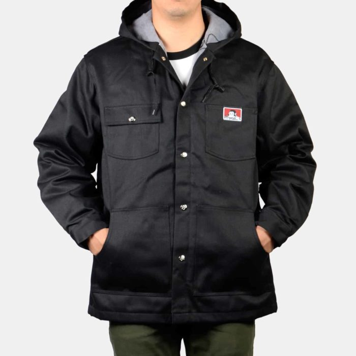 Hooded Snap Jacket - Black, 384