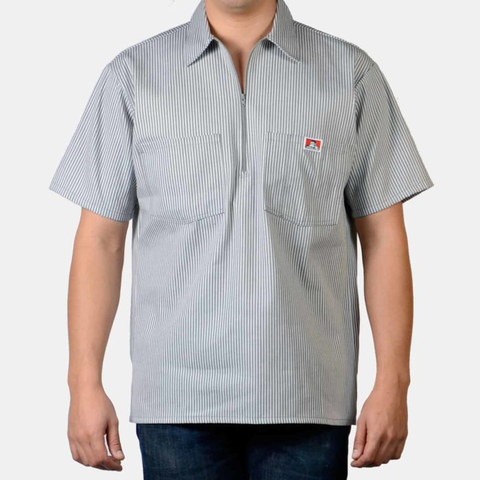 Short Sleeve Stripe Shirt - Grey, 179