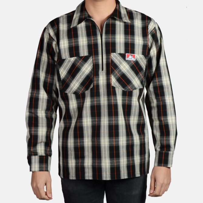 Long Sleeve Plaid, 1/2 Zip – Black/Cream