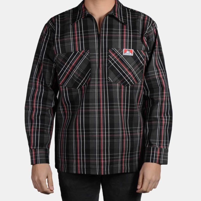 Long Sleeve Plaid, 1/2 Zip – Black/Grey/Red