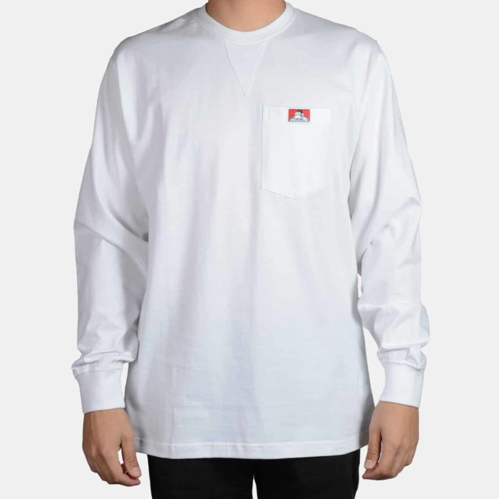 Heavy Duty Long Sleeve Pocket T-Shirt - White, 930