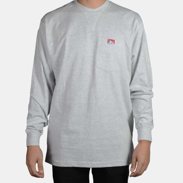 Heavy Duty Long Sleeve Pocket T-Shirt - Ash Grey, 933