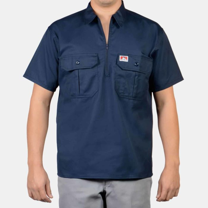 Button Pocket Short Sleeve, 1/2 Zip - Navy, 118